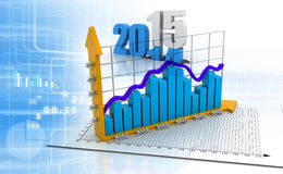 Business graph. 3d render of Business graph on abstract financial background vector illustration