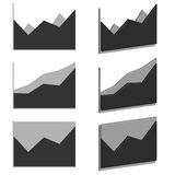 Business Graph diagram chart icon set for design presentation in , Area chart in mono tone Stock Images