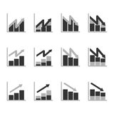 Business Graph diagram chart icon set for design presentation in , bar chart in mono tone Royalty Free Stock Images