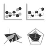 Business Graph diagram chart icon set for design presentation in , bubble, radar, and surface area in mono tone Royalty Free Stock Image