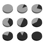 Business Graph diagram chart icon set for design presentation in , 3D pie chart in mono tone. Business Graph diagram chart icon set for design presentation in Royalty Free Stock Photography