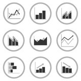 Business Graph diagram chart icon set for design presentation in , mono tone Royalty Free Stock Images
