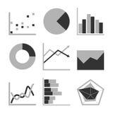 Business Graph diagram chart icon set for design presentation in , mono tone Stock Photo