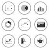 Business Graph diagram chart icon set for design presentation in , mono tone Royalty Free Stock Photo