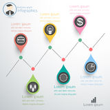 Business graph diagram infographics idea. mark point up down. Stock Image