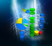 Business graph in digital design. 3d illustration of Business graph in digital design Stock Image