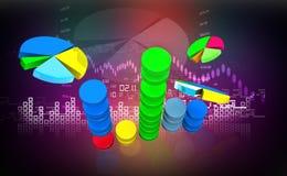 Business graph in digital design. 3d illustration of Business graph in digital design Stock Images