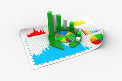Business graph and documents Stock Image