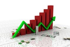 Business graph with dollar Stock Photos
