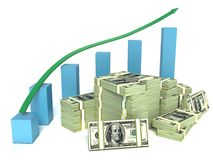 Business graph and dollar bills Stock Image