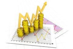 Business graph of dollar coins. 3d render of Business graph of dollar coins Stock Image