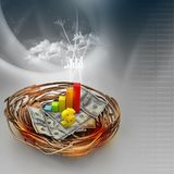 Business graph and dollar on nest Royalty Free Stock Photo
