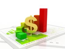 Dollar with Business Graph isolated in white background. Business Success. 3d render. Business graph with Dollar sign. Dollar growth concept. 3d rendering Stock Images