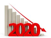 Business graph down 2020 royalty free stock photos