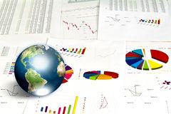 Business graph with earth. Royalty Free Stock Images