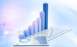 Business graph. Financial background.3d illustration Royalty Free Stock Photos