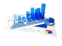 Business Graph. Financial charts and statistics on paper with white background Stock Photography