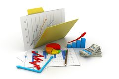 Business graph in folder Royalty Free Stock Image