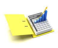 Business graph in a folder. Business graph showing rising trend in a folder, 3d render Royalty Free Stock Photo