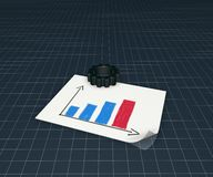Business graph and gear wheel Royalty Free Stock Photos