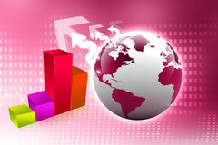 Business graph with globe Stock Images