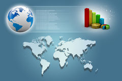 Business graph with globe. Business graphand world map on abstract background Royalty Free Stock Photo
