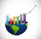 Business graph and globe. illustration design. Over a white background Royalty Free Stock Image