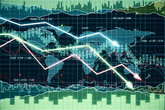 Business graph with glowing arrows tending downwards Stock Images