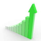 Business graph with going up green arrow. Stock Photo