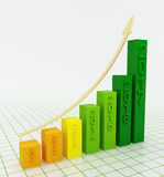 Business graph going up in 2017. 2017 graph up on white background. Growing bar graph with rising arrow. 3d illustration Royalty Free Stock Photography