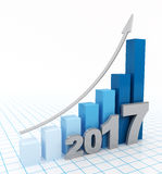 Business graph going up in 2017. 2017 graph up on white background. Growing bar graph with rising arrow. 3d illustration Royalty Free Stock Photos