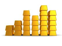Business graph of gold bars 3d render Stock Photos