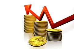 Business graph and gold coin Royalty Free Stock Photo