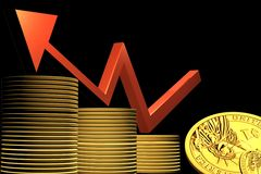 Business graph and gold coin Stock Photography