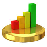 Business graph on gold podium Royalty Free Stock Photo