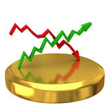 Business graph on gold podium. Isolated on fwite background Royalty Free Stock Photography