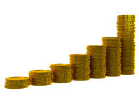 Business graph of golden coins Royalty Free Stock Image