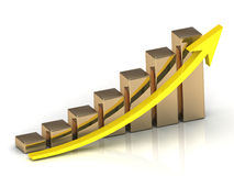 Business graph from golden columns Royalty Free Stock Photos