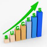 Business graph with green arrow. On white background Stock Photo