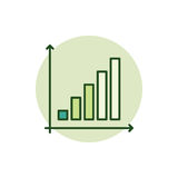 Business graph green icon. Vector colorful growing graph sign Royalty Free Stock Image