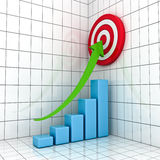 Business Graph with green rising arrow. And red target concept Stock Images