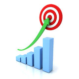Business graph with green rising arrow and red target. Over white background with reflection Royalty Free Stock Images