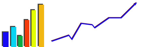 Business graph growing. Business graph of growing profit Royalty Free Stock Photo