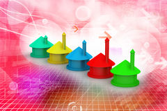 Business graph growing up. In color background Royalty Free Stock Photography