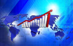 Business graph with growth arrow Royalty Free Stock Photos