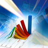Business graph. Business growth graph in digital background Royalty Free Stock Photos