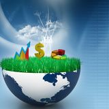 Business graph in half earth. Digital illustration of Business graph in half earth Stock Image