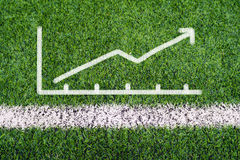 Business graph hand drawing on soccer field grass Royalty Free Stock Photography