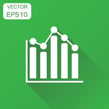 Business graph icon. Business concept chart pictogram. Vector il. Lustration on green background with long shadow Stock Photos
