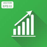 Business graph icon. Business concept chart pictogram. Vector il. Lustration on green background with long shadow Royalty Free Stock Images